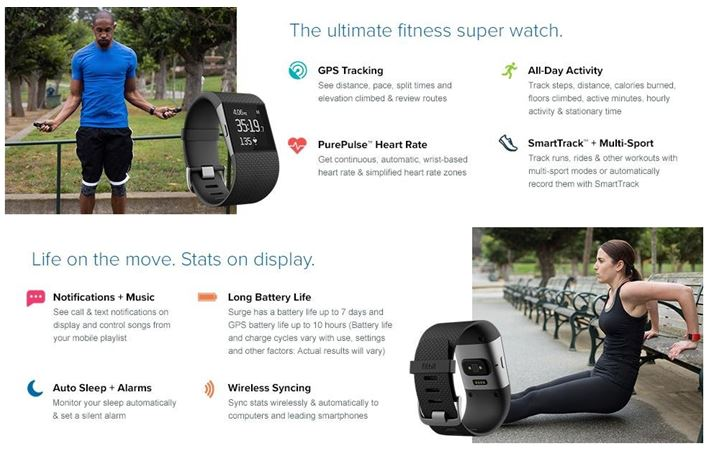 Fitbit Surge Specifications